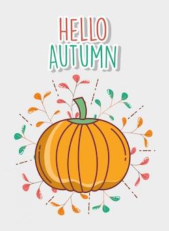 Pumpkin hello autumn greeting card