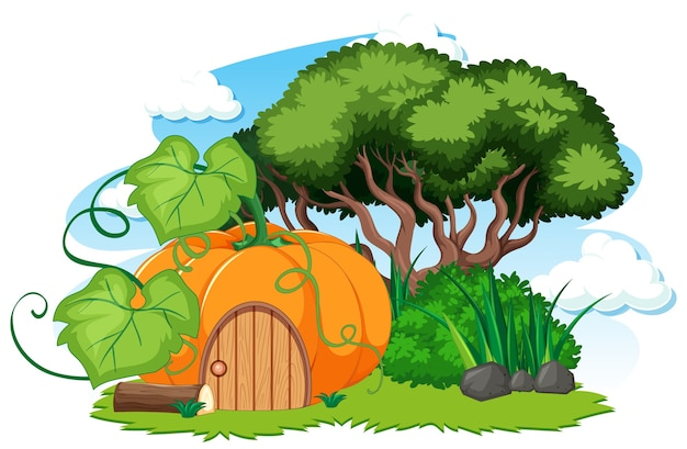カボチャの家と白の草の漫画のスタイル