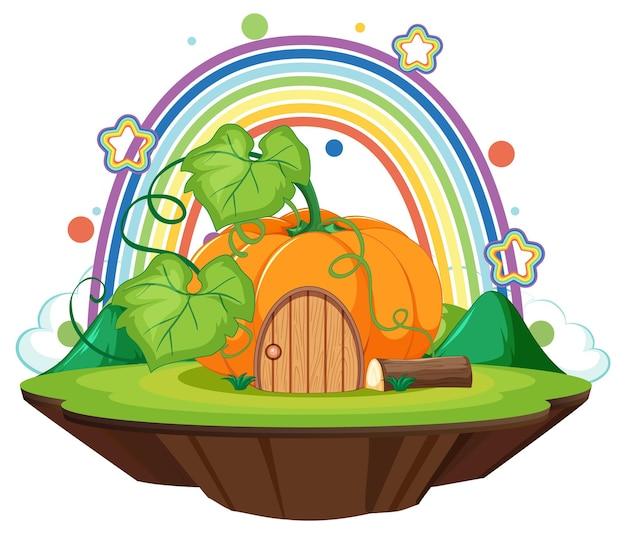 Pumpkin house on the cloud with rainbow