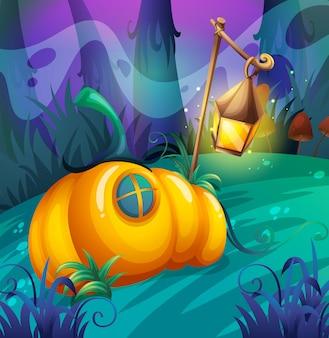 Pumpkin house in the jungle