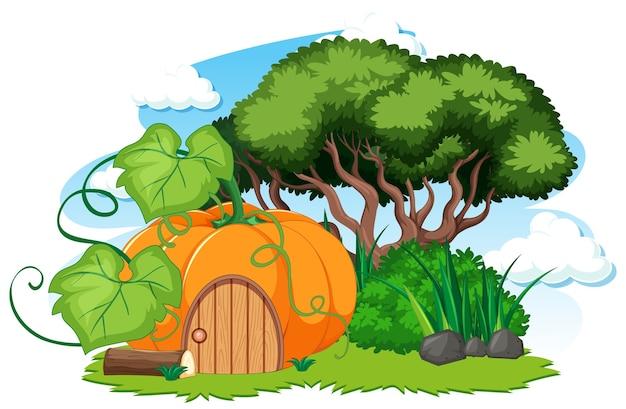 Casa delle zucche e un po 'di stile cartone animato erba su bianco