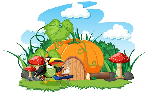 Pumpkin house with cute bird cartoon style on white background