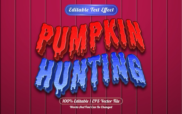 Pumpkin hunting editable text effect template style