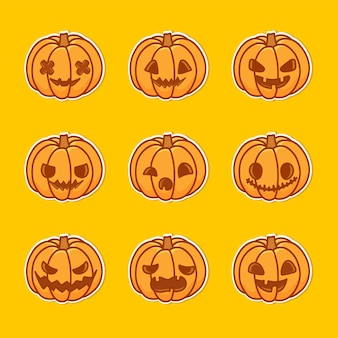Pumpkin illustration set with various faces. the main symbol of the happy halloween holiday.