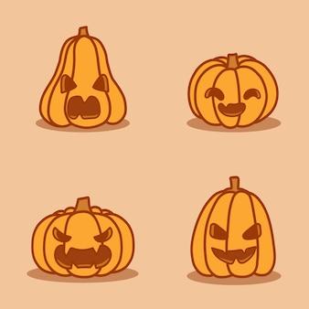 다양한 얼굴로 설정된 호박 그림입니다. 해피 할로윈 휴가의 주요 상징.