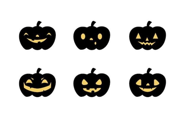 Pumpkin illustration set with various faces. vector illustration