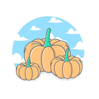 Pumpkin illustration with sky