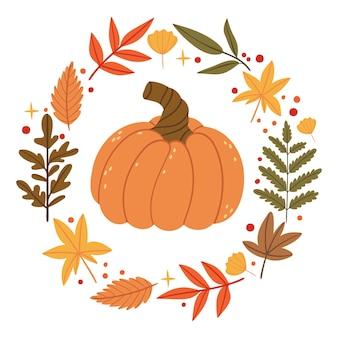 秋の花輪のカボチャ秋の森芝生に落ちる