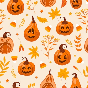 Pumpkin jack lantern seamless pattern for halloween. vector cute illustration graphic drawing in cartoon style. autumn leaves, witches and magic. for wallpaper, printing on fabric, wrapping.