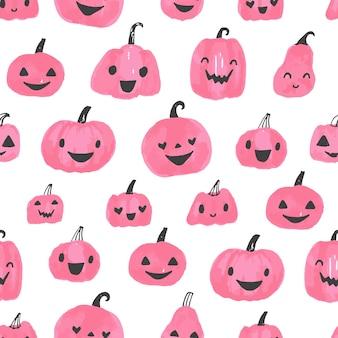 Pumpkin jack o lantern halloween seamless pattern