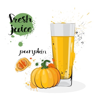 Pumpkin juice fresh hand drawn watercolor vegetable and glass on white background