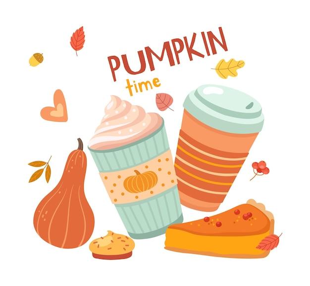 カボチャのラテタイム。秋の飲み物、ヒュッゲの季節。クリーム入りコーヒー。ベーカリーショップ、カフェレストランプリントカードベクトルテンプレート。カボチャのコーヒードリンク、ホットドリンクのイラストとオレンジの季節
