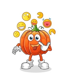 Pumpkin laugh and mock character. cartoon mascot