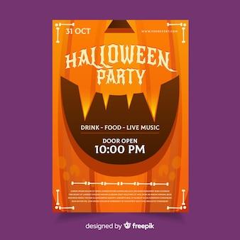 Pumpkin laughing halloween party flyer template