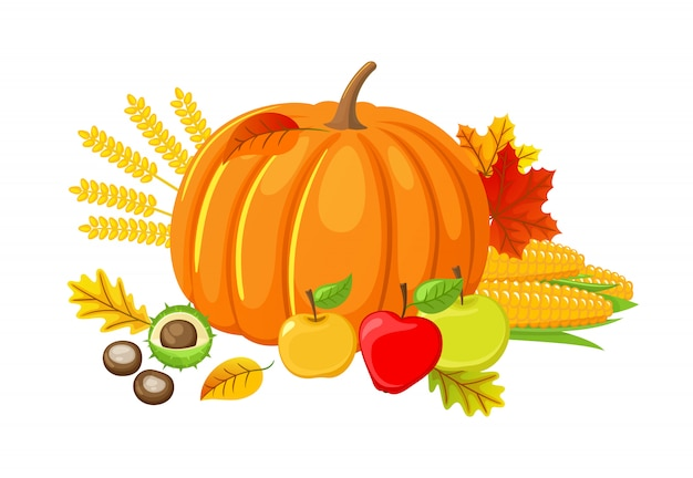 Pumpkin and leaves chestnut and apples vector