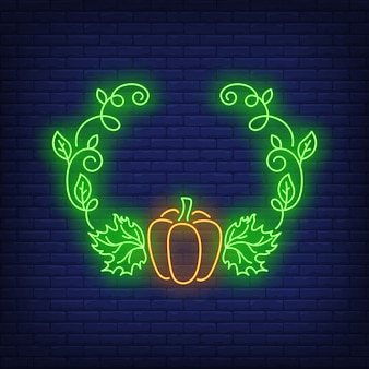 Pumpkin and leaves frame neon sign