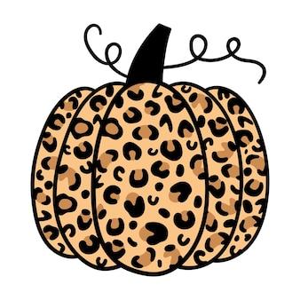 Pumpkin leopard happy halloween vector illustration