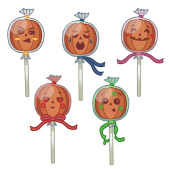 Pumpkin lollipop stickers