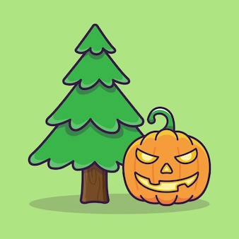 Pumpkin monster beside the pine tree