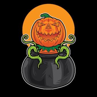 Pumpkin monster in a big pot