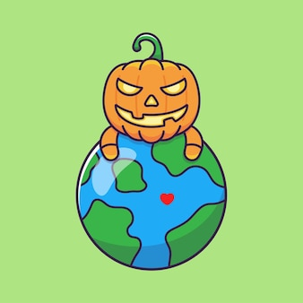 Pumpkin monsters hugging planet earth during halloween