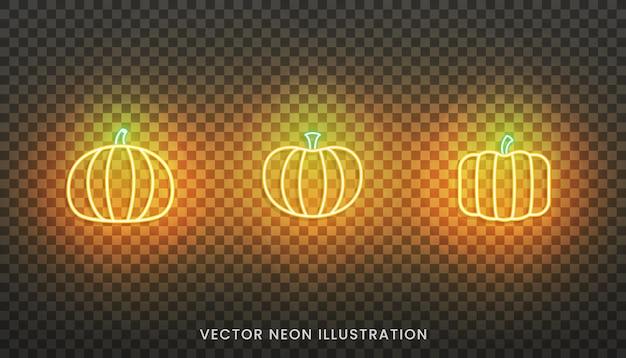 호박 네온 아이콘입니다. 전통적인 추수 감사절 오렌지 호박 기호 집합입니다.