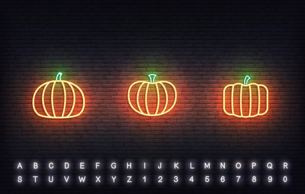 호박 네온 벡터 아이콘입니다. 전통적인 추수 감사절 오렌지 호박 기호 집합입니다.