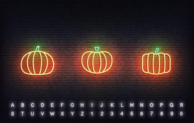 Pumpkin neon vector icons. set of traditional thanksgiving orange pumpkin sign.