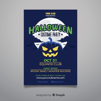 Pumpkin in the night halloween party poster