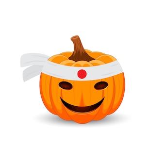 Тыква на белом фоне. счастливый праздник хэллоуина японская тыква.