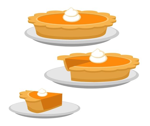 호박 또는 고구마 파이 전체 및 슬라이스 전통적인 미국 추수 감사절 디저트 그림 잔치 개념으로 저녁 식사 테이블에 행복 추수 감사절 메뉴에 음식의 평면 만화