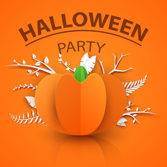 Pumpkin origami style icon. halloween illustration.