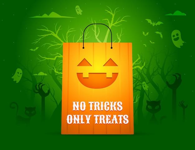 Pumpkin paper bag illustration. isolated vector illustration