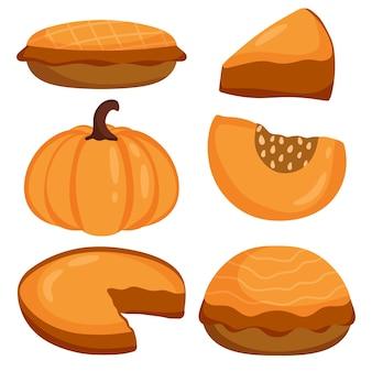 Тыквенный пирог на день благодарения и праздник. тыква, кусок торта. с днем благодарения традиционный тыквенный пирог. векторные иллюстрации мультяшном стиле.
