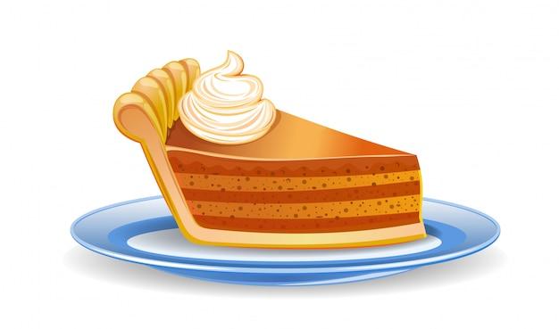 호박 파이 조각. 접시에 파이 조각. 흰색 절연