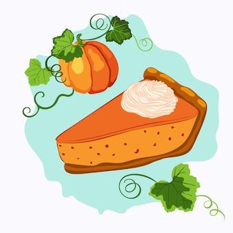 Pumpkin pie with cream and rape pumpkin
