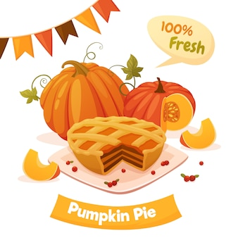 Pumpkin pie with orange pumpkins, berries and garland. cartoon style, vector illustration.