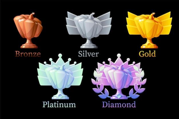 カボチャの報酬、ゲーム用のゴールド、シルバー、プラチナ、ブロンズ、ダイヤモンド。ベクトルイラストは、勝者のためのさまざまな改善賞を設定します。