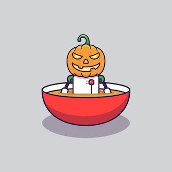 Pumpkin robot in a bowl of soup