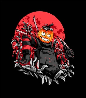 Pumpkin scarecrow illustration, suitable for t-shirt, apparel, print and merchandise products