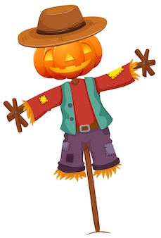 Pumpkin scarecrow isolated