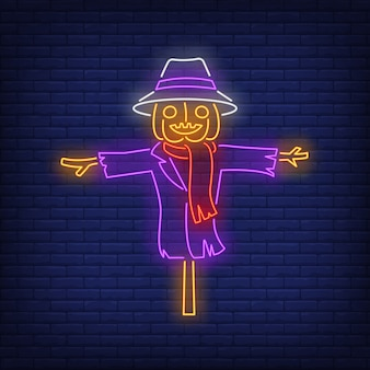 Pumpkin scarecrow neon sign