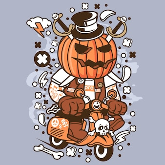Pumpkin scooter cartoon