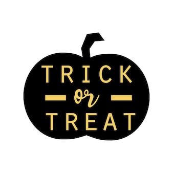 Pumpkin silhouette with lettering trick or treat. vector illustration isolated on white background