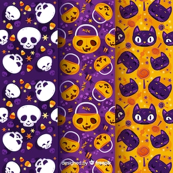Pumpkin skull and cats flat halloween pattern collection