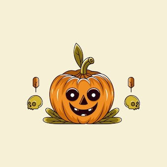 Pumpkin smile with skull bone cartoon character