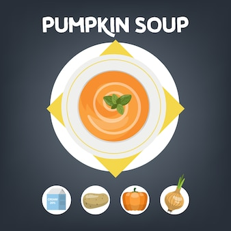 Pumpkin soup recipe for cooking at home