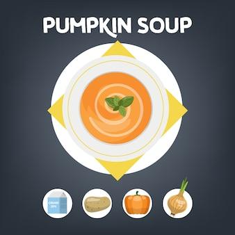 自宅で調理するためのかぼちゃスープのレシピ