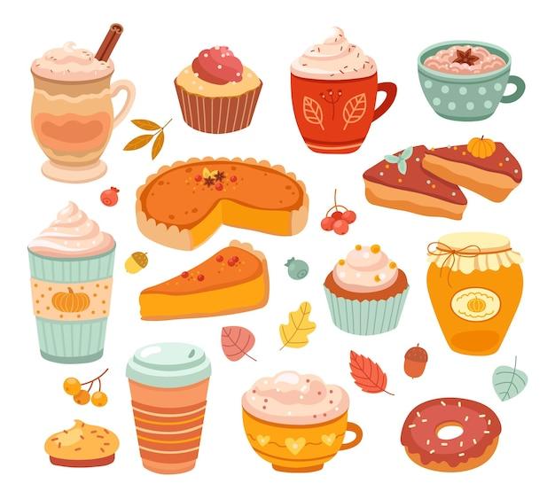 カボチャスパイス。秋のアロマ商品、秋の甘い焼き菓子。おいしいフレーバーのペストリーデザート、食品、ラテコーヒーのベクトルイラスト。カラフルなコレクションを食べるアロマフォール