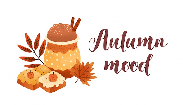 Pumpkin spice latte and biscuits flat vector illustration.